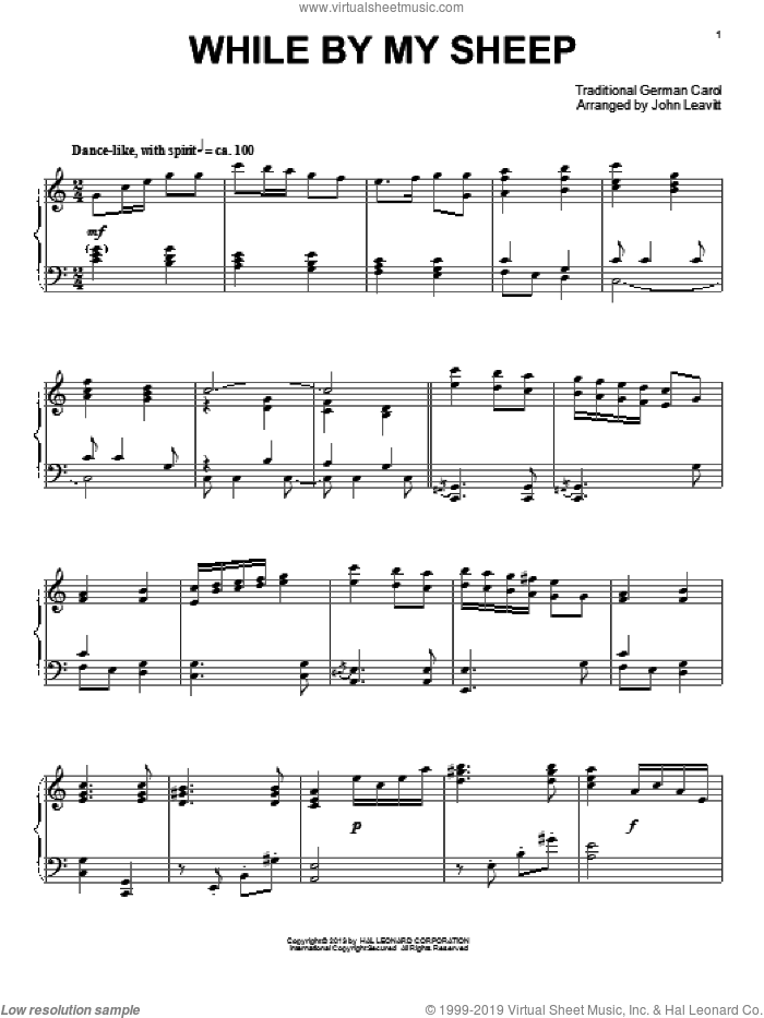While By My Sheep sheet music for piano solo by John Leavitt, intermediate skill level
