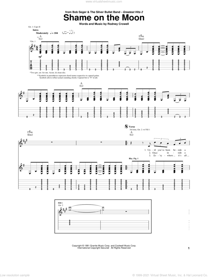 Shame On The Moon sheet music for guitar (tablature) by Bob Seger, intermediate skill level