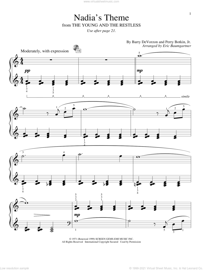 Nadia's Theme sheet music for piano solo (elementary) by Perry Botkin, Jr., Eric Baumgartner and Barry DeVorzon & Perry Botkin, Jr. and Barry DeVorzon, beginner piano (elementary)