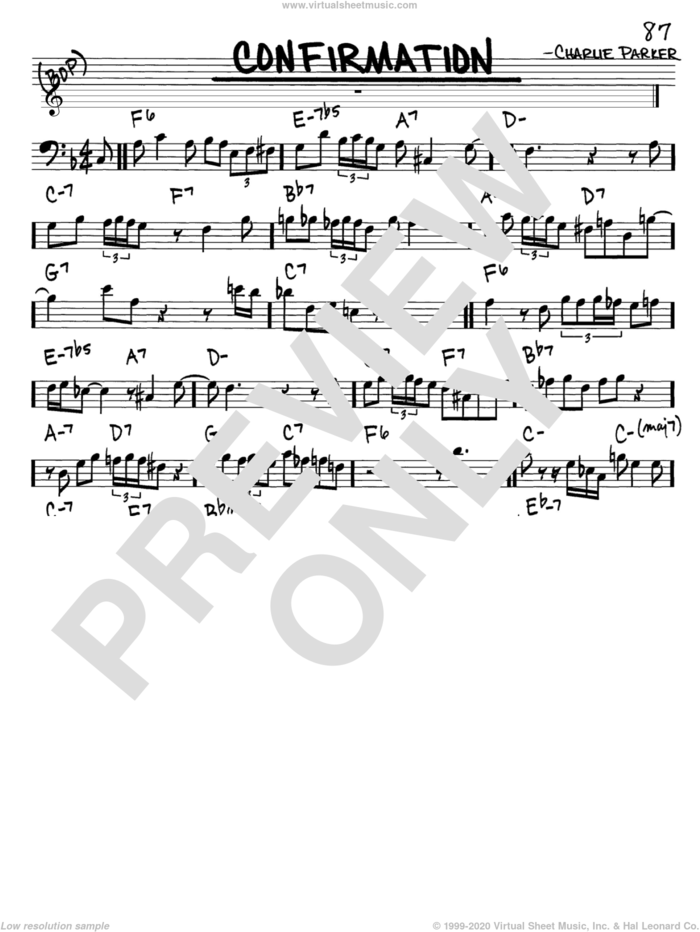 Confirmation sheet music for voice and other instruments (bass clef) by Charlie Parker, intermediate skill level