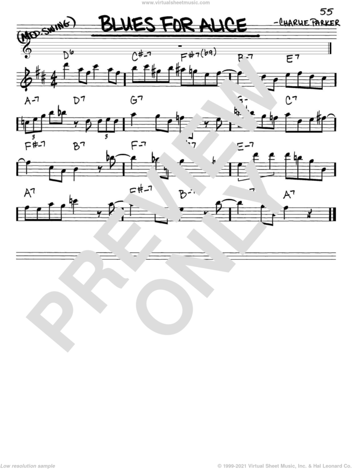 Blues For Alice sheet music for voice and other instruments (in Eb) by John Coltrane and Charlie Parker, intermediate skill level