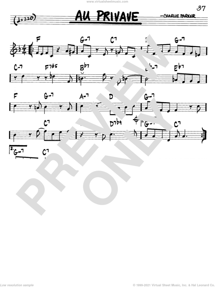Au Privave sheet music for voice and other instruments (in C) by Charlie Parker, intermediate skill level
