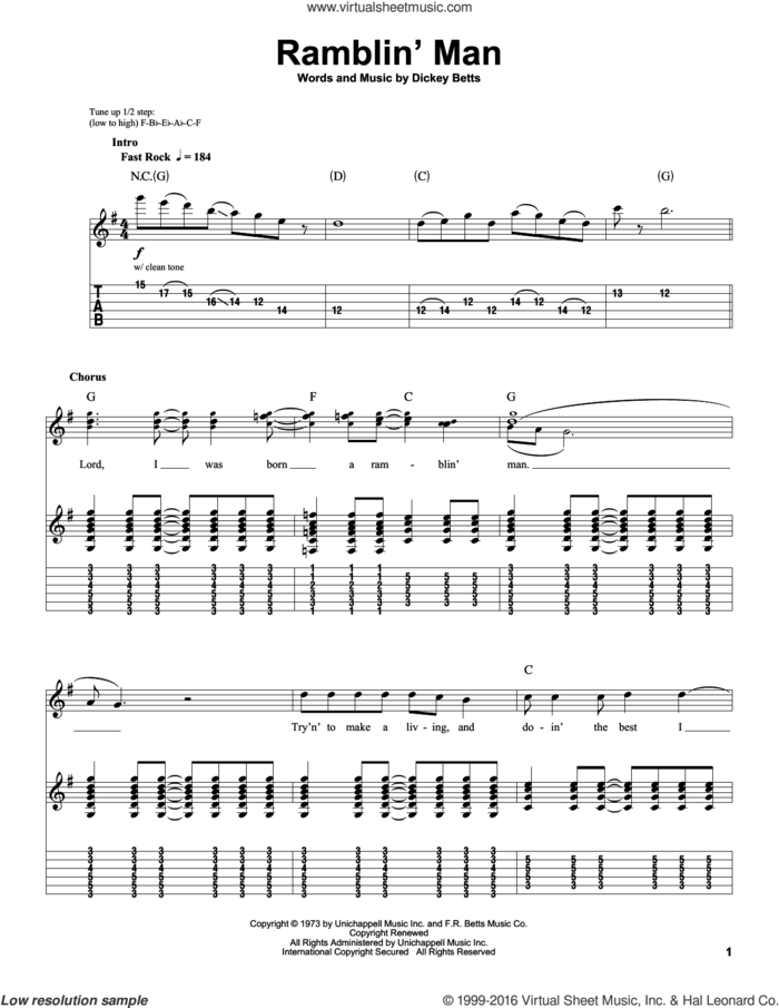 Ramblin' Man sheet music for guitar (tablature, play-along) by Allman Brothers Band, The Allman Brothers Band and Dickey Betts, intermediate skill level