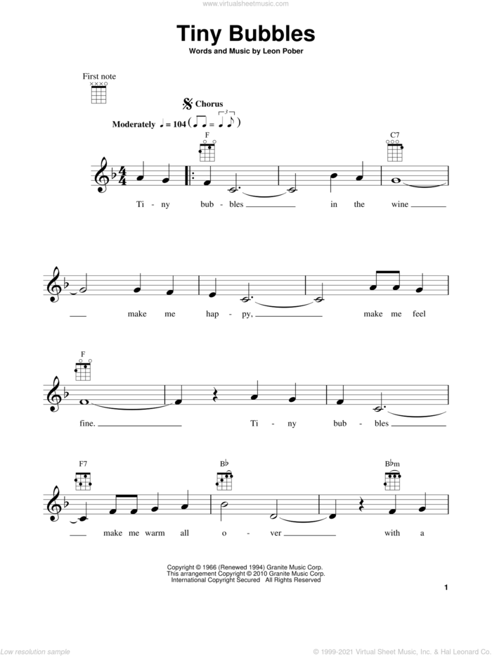 Tiny Bubbles sheet music for ukulele by Leon Pober and Don Ho, intermediate skill level