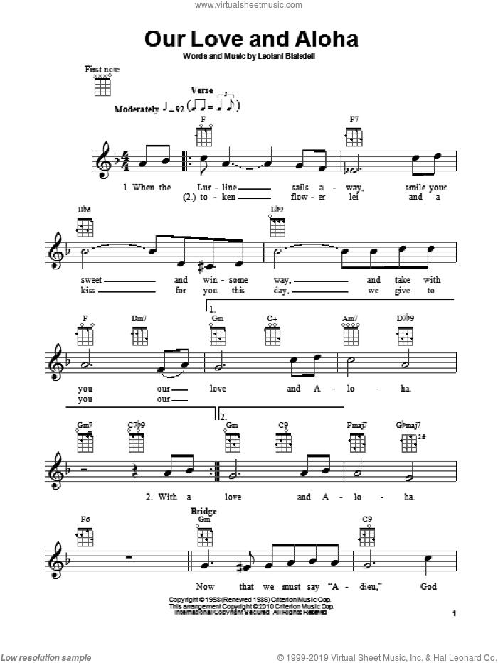 Our Love And Aloha sheet music for ukulele by Leolani Blaisdell, intermediate skill level
