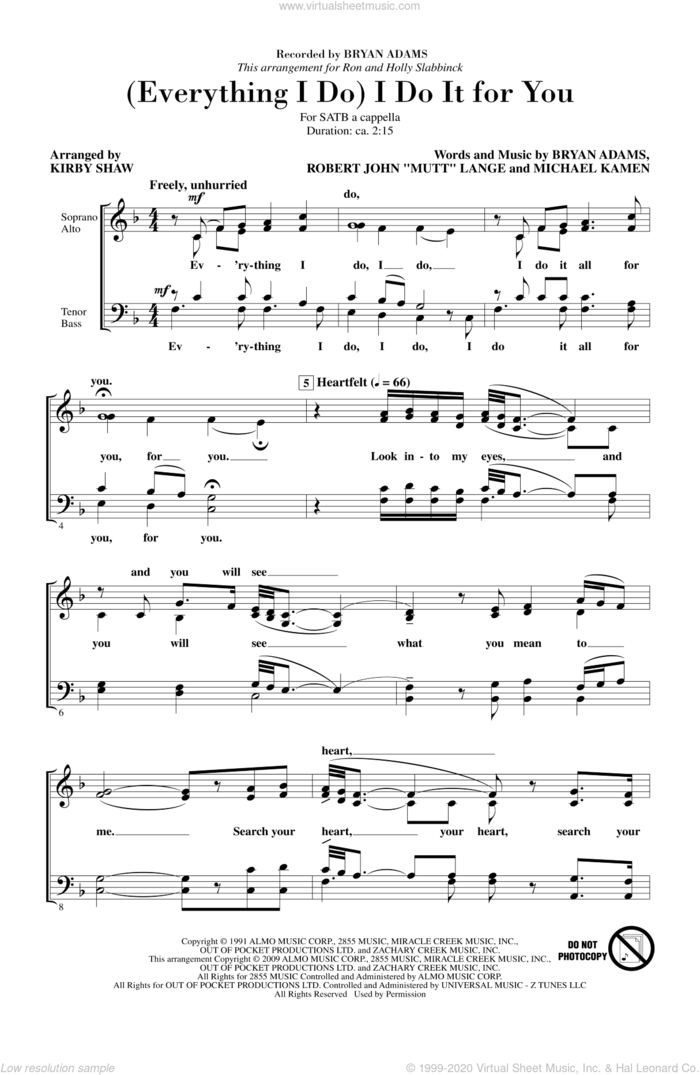 (Everything I Do) I Do It For You sheet music for choir (SATB: soprano, alto, tenor, bass) by Kirby Shaw and Bryan Adams, intermediate skill level