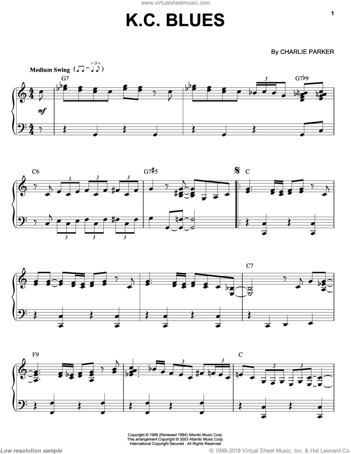 K.C. Blues sheet music for piano solo by Charlie Parker, intermediate skill level