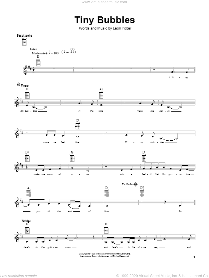 Tiny Bubbles sheet music for ukulele by Leon Pober and Don Ho, intermediate skill level