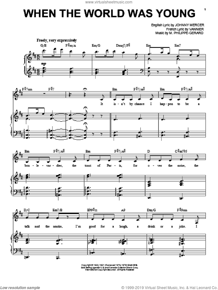When The World Was Young sheet music for voice and piano by Frank Sinatra, intermediate skill level