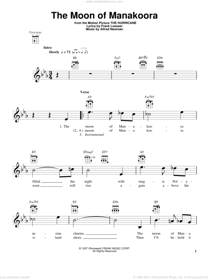 The Moon Of Manakoora sheet music for ukulele by Alfred Newman and Frank Loesser, intermediate skill level