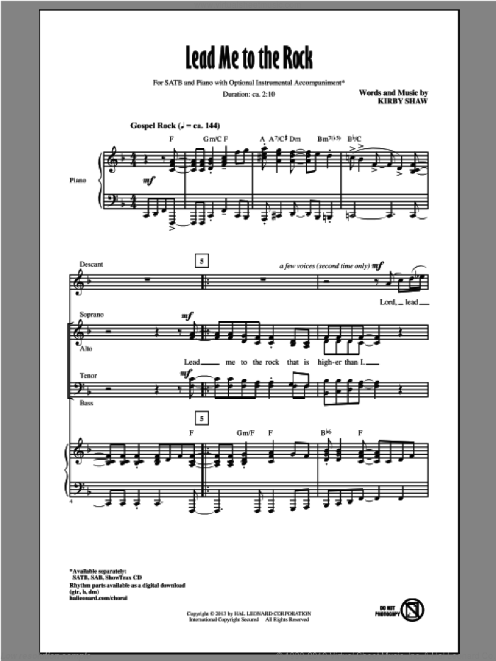 Lead Me To The Rock sheet music for choir (SATB: soprano, alto, tenor, bass) by Kirby Shaw, intermediate skill level