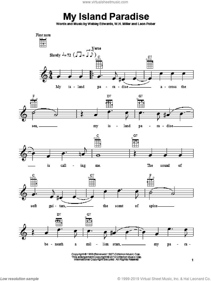 My Island Paradise sheet music for ukulele by Leon Pober, W.H. Miller and Webley Edwards, intermediate skill level