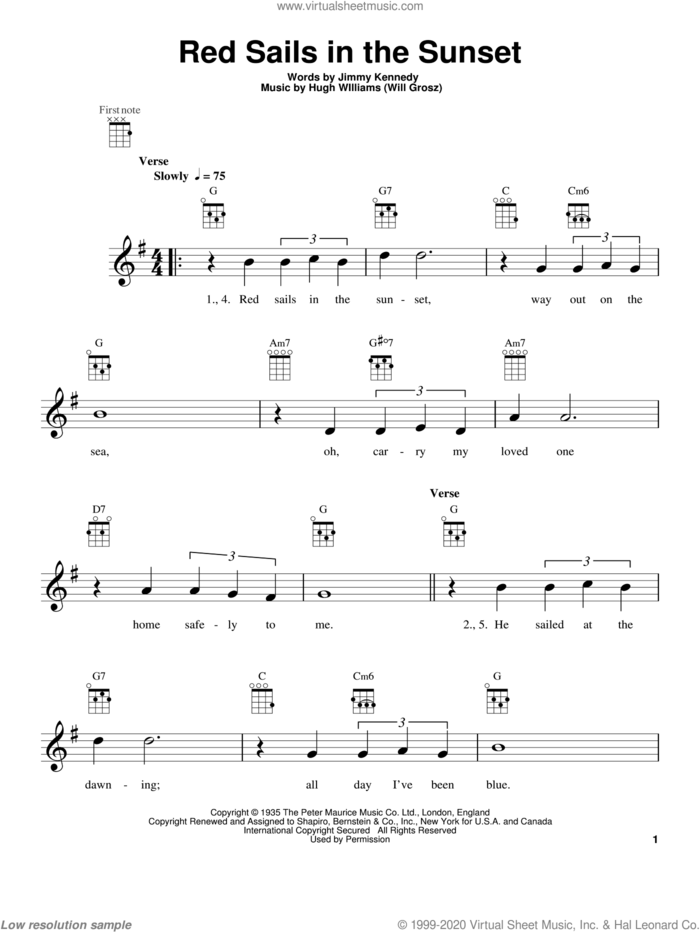 Red Sails In The Sunset sheet music for ukulele by Hugh Williams and Jimmy Kennedy, intermediate skill level