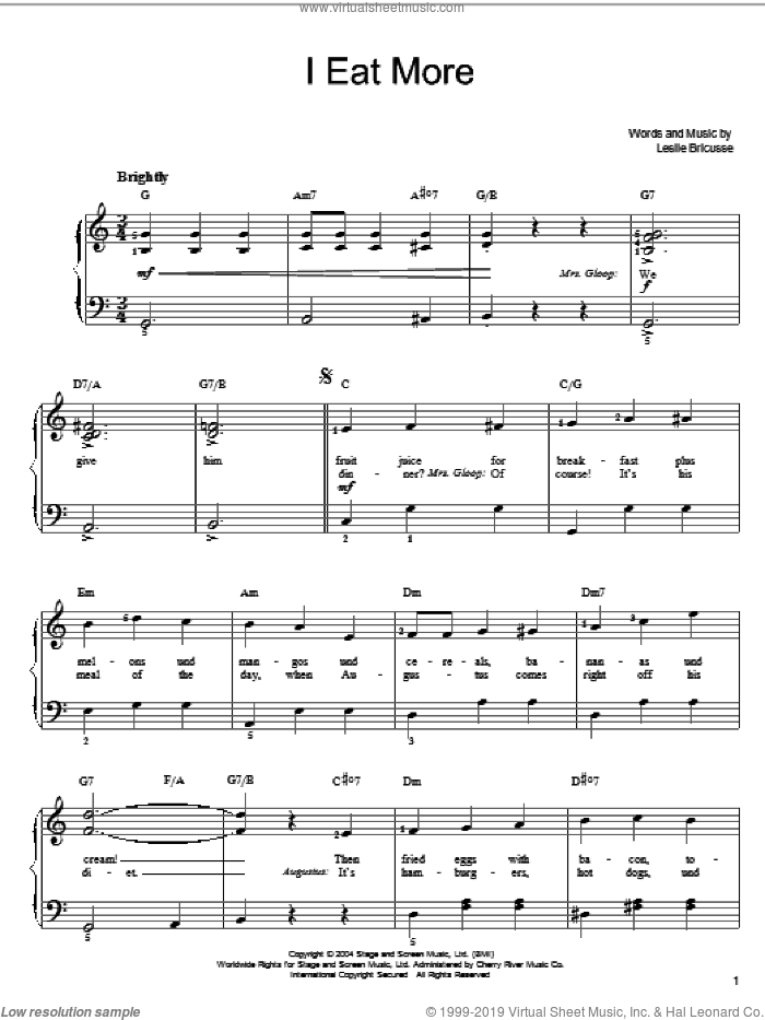 I Eat More sheet music for piano solo by Willy Wonka and Leslie Bricusse, easy skill level
