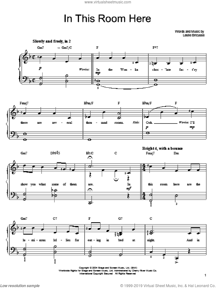 In This Room Here sheet music for piano solo by Willy Wonka and Leslie Bricusse, easy skill level