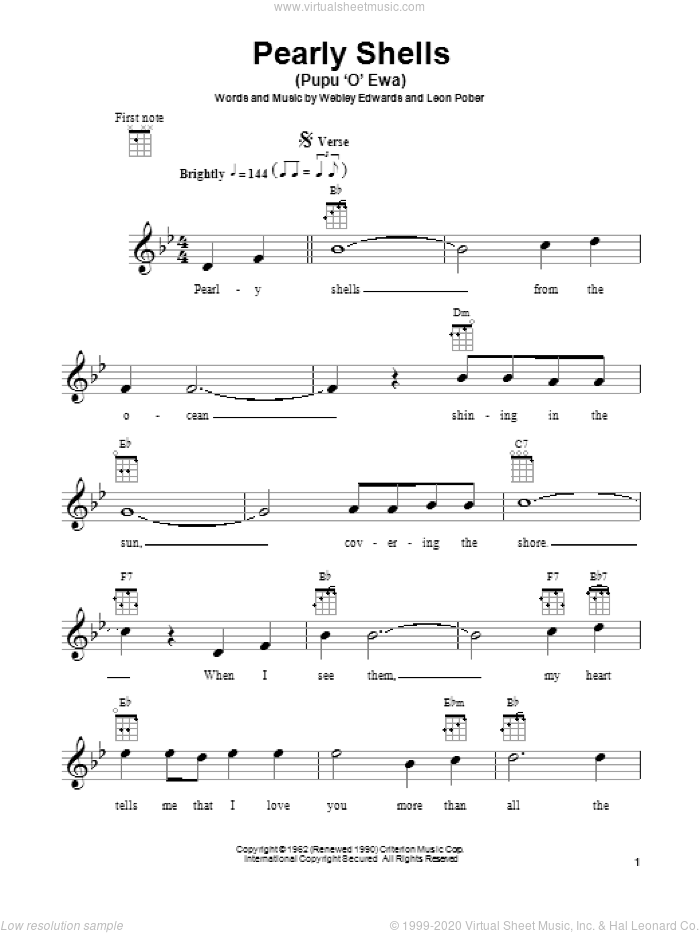 Pearly Shells (Pupu O Ewa) sheet music for ukulele by Leon Pober, Don Ho and Webley Edwards, intermediate skill level