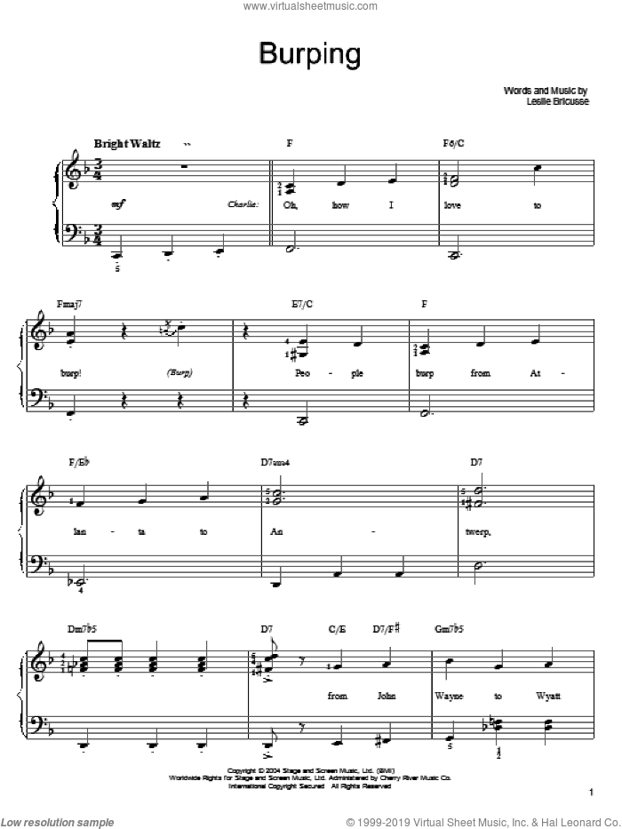 Burping sheet music for piano solo by Willy Wonka and Leslie Bricusse, easy skill level