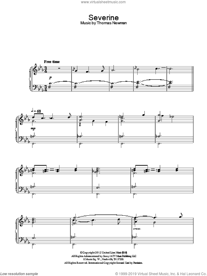 Severine sheet music for piano solo by Thomas Newman, intermediate skill level
