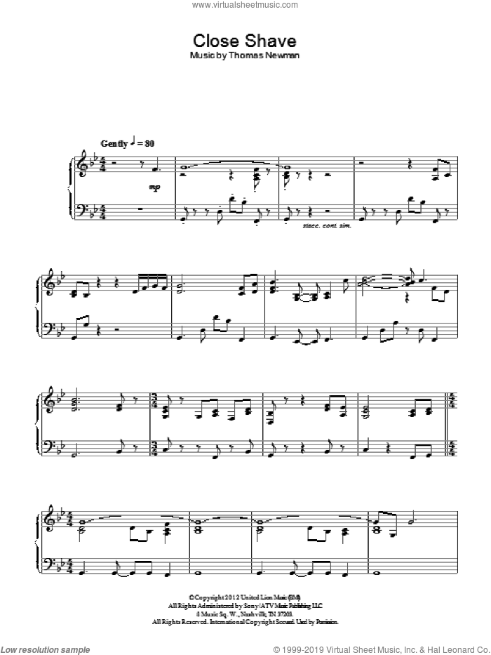 Close Shave sheet music for piano solo by Thomas Newman, intermediate skill level