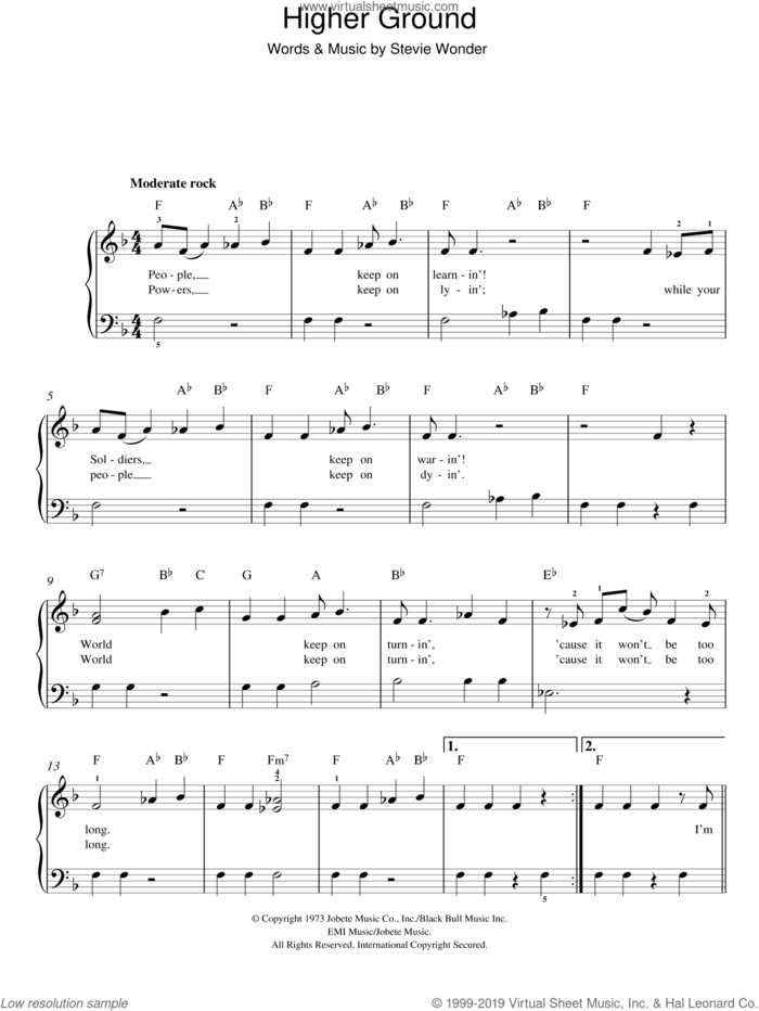 Higher Ground sheet music for piano solo by Stevie Wonder, easy skill level