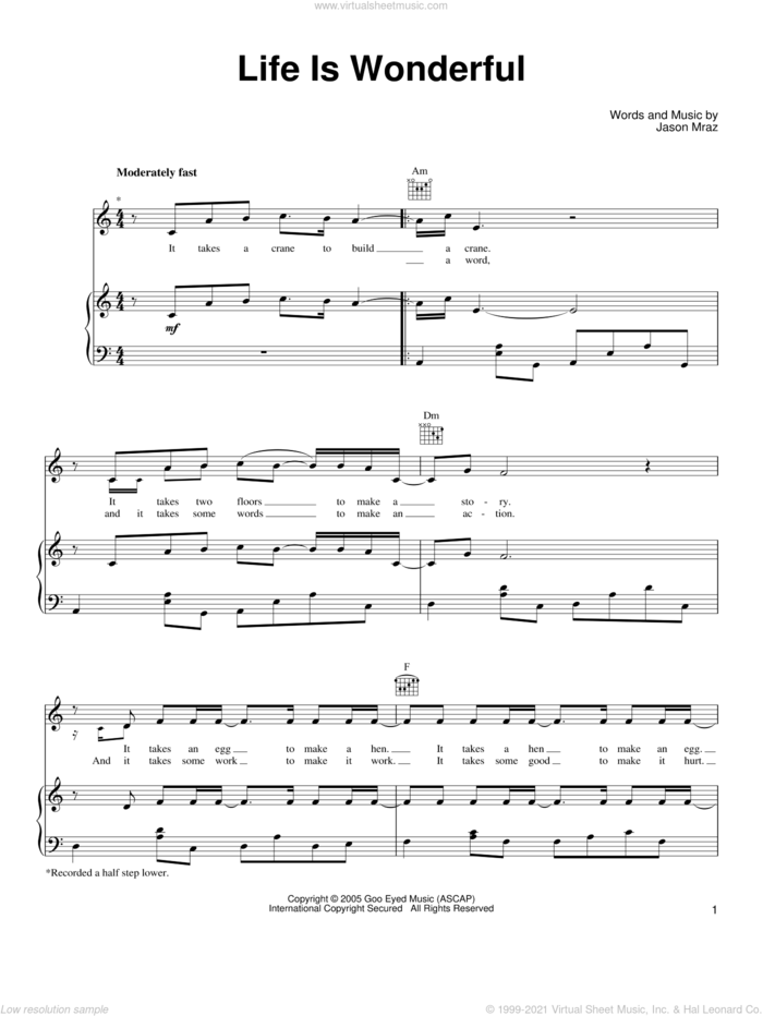Life Is Wonderful sheet music for voice, piano or guitar by Jason Mraz, intermediate skill level