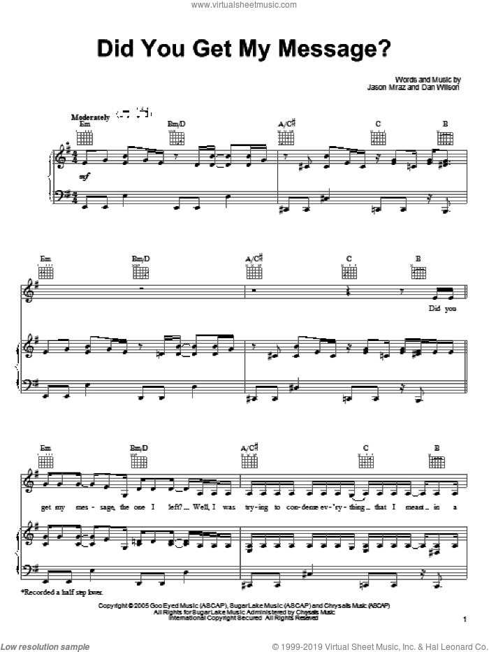 Did You Get My Message? sheet music for voice, piano or guitar by Jason Mraz and Dan Wilson, intermediate skill level