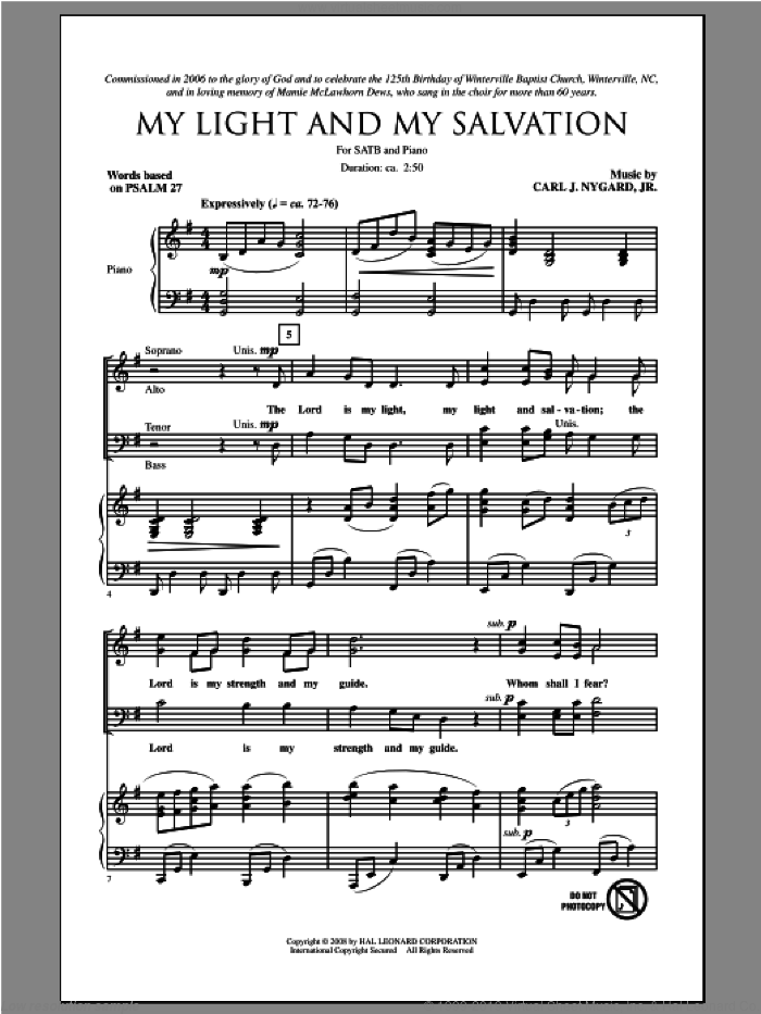 My Light And My Salvation sheet music for choir (SATB: soprano, alto, tenor, bass) by Carl Nygard, Jr., intermediate skill level