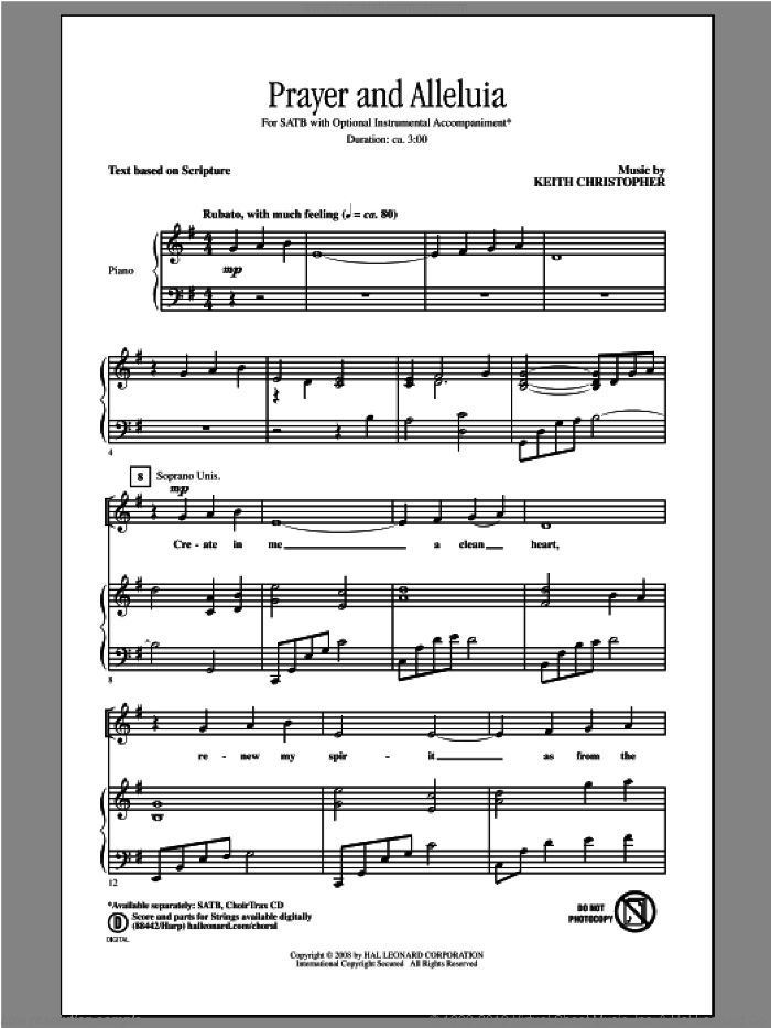 Prayer And Alleluia sheet music for choir (SATB: soprano, alto, tenor, bass) by Keith Christopher, intermediate skill level