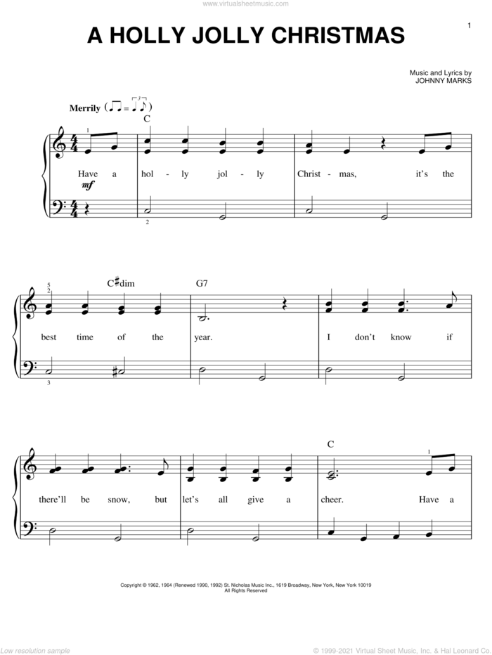 A Holly Jolly Christmas, (beginner) sheet music for piano solo by Johnny Marks, beginner skill level