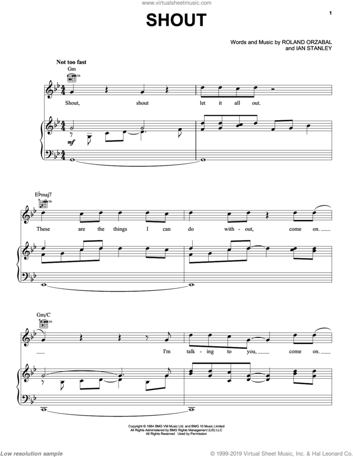 Shout sheet music for voice, piano or guitar by Tears For Fears, Disturbed, Ian Stanley and Roland Orzabal, intermediate skill level