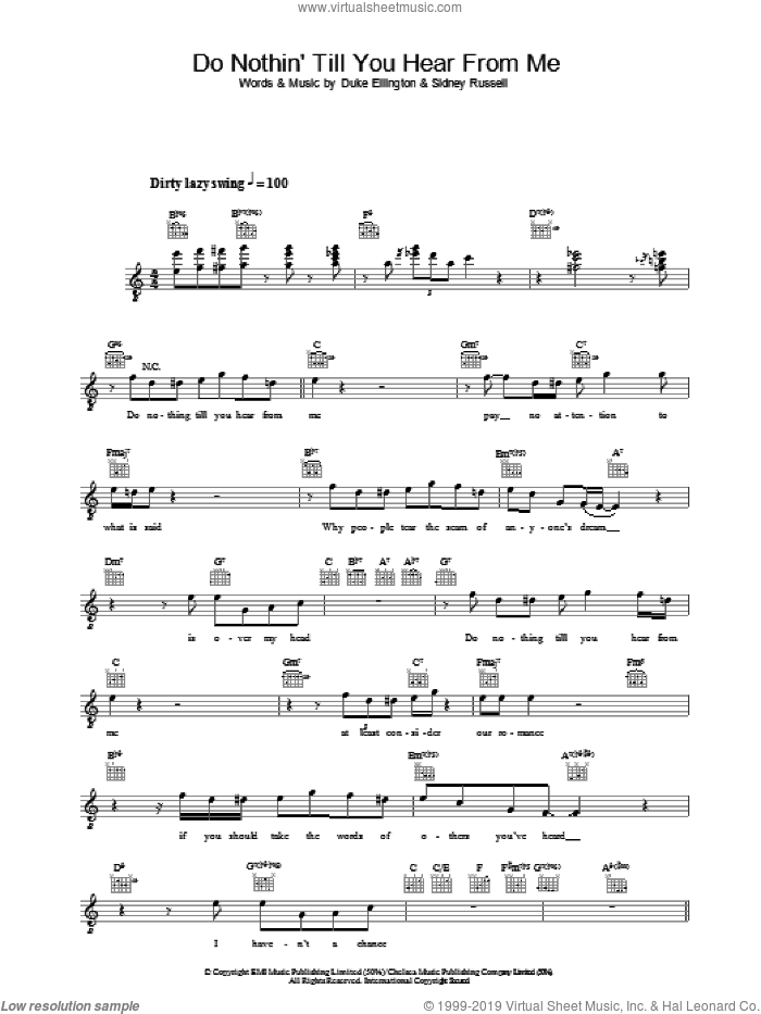 Do Nothin' Till You Hear From Me sheet music for voice and other instruments (fake book) by Diana Krall, Duke Ellington and Sidney Russell, intermediate skill level