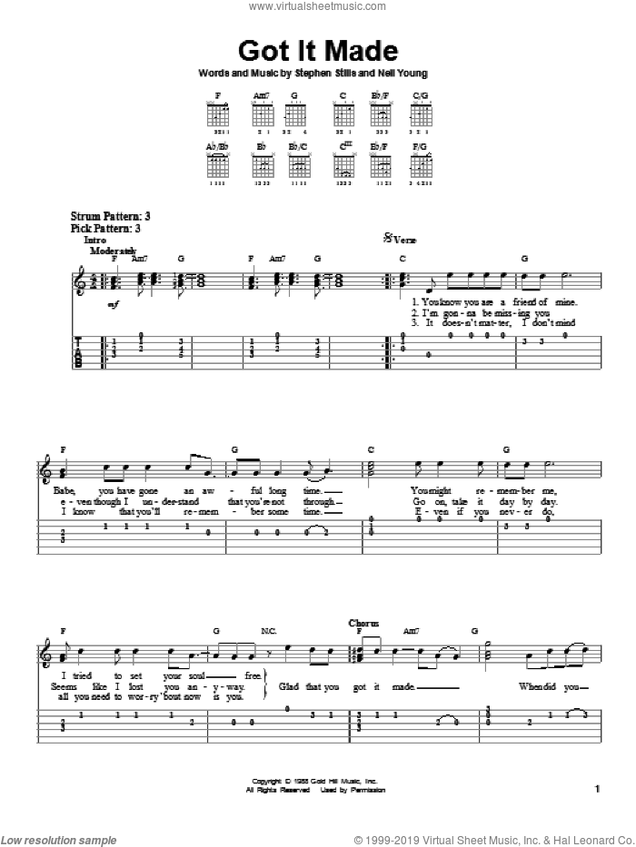 Got It Made sheet music for guitar solo (easy tablature) by Crosby, Stills & Nash, easy guitar (easy tablature)