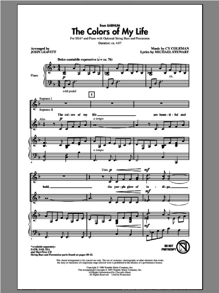 The Colors Of My Life sheet music for choir (SSA: soprano, alto) by John Leavitt, intermediate skill level