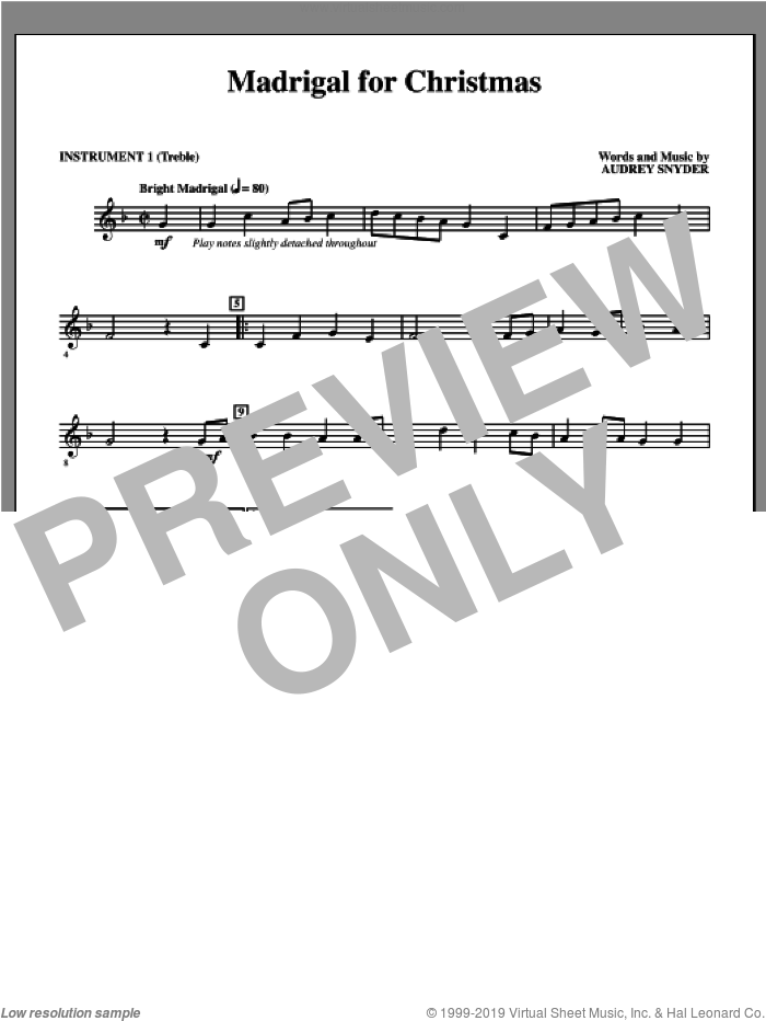 Madrigal for Christmas (complete set of parts) sheet music for orchestra/band by Audrey Snyder, intermediate skill level