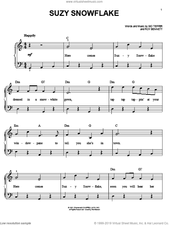 Suzy Snowflake sheet music for piano solo by Sid Tepper and Roy Bennett, easy skill level