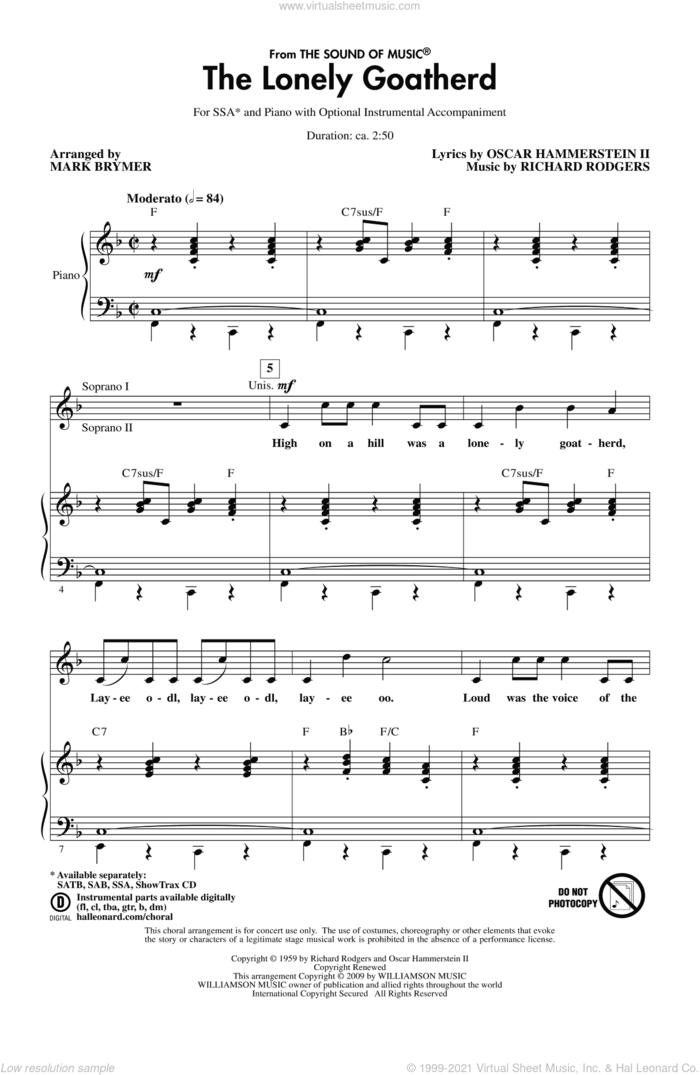 The Lonely Goatherd (from The Sound of Music) sheet music for choir (SSA: soprano, alto) by Mark Brymer, intermediate skill level