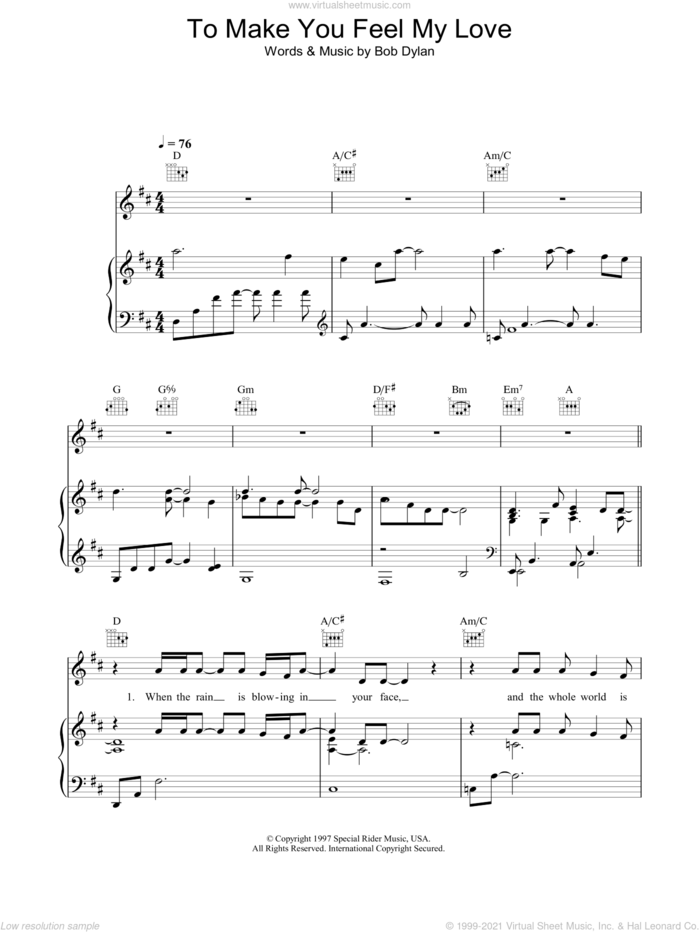 To Make You Feel My Love sheet music for voice, piano or guitar by Garth Brooks and Bob Dylan, intermediate skill level