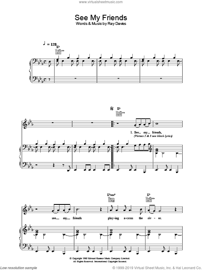 See My Friends sheet music for voice, piano or guitar by The Kinks and Ray Davies, intermediate skill level