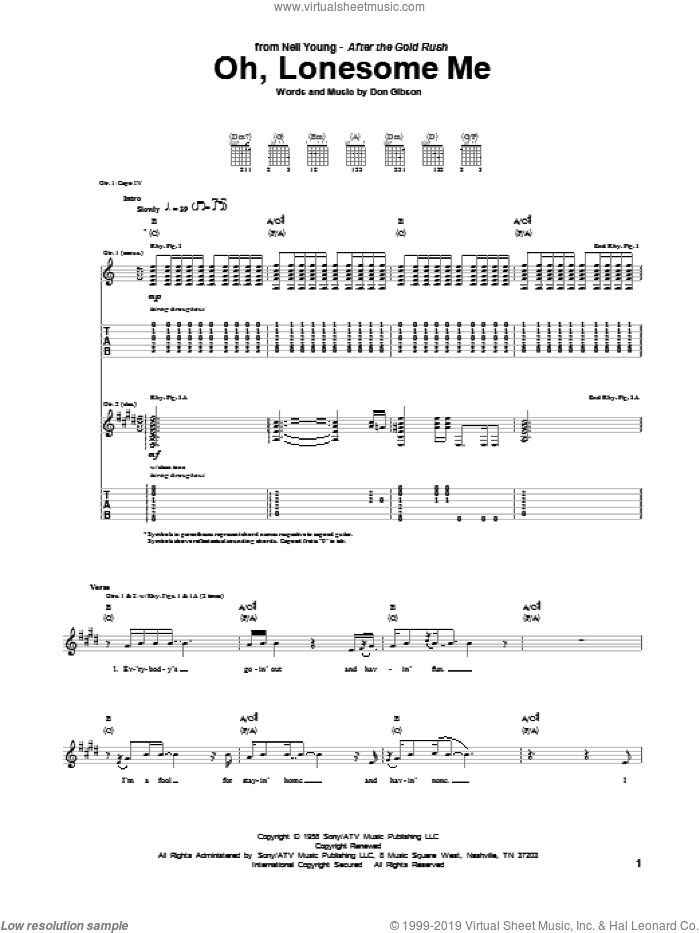Oh, Lonesome Me sheet music for guitar (tablature) by Neil Young, intermediate skill level