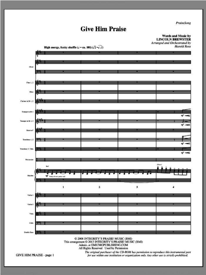 Give Him Praise (COMPLETE) sheet music for orchestra/band by Lincoln Brewster and Harold Ross, intermediate skill level