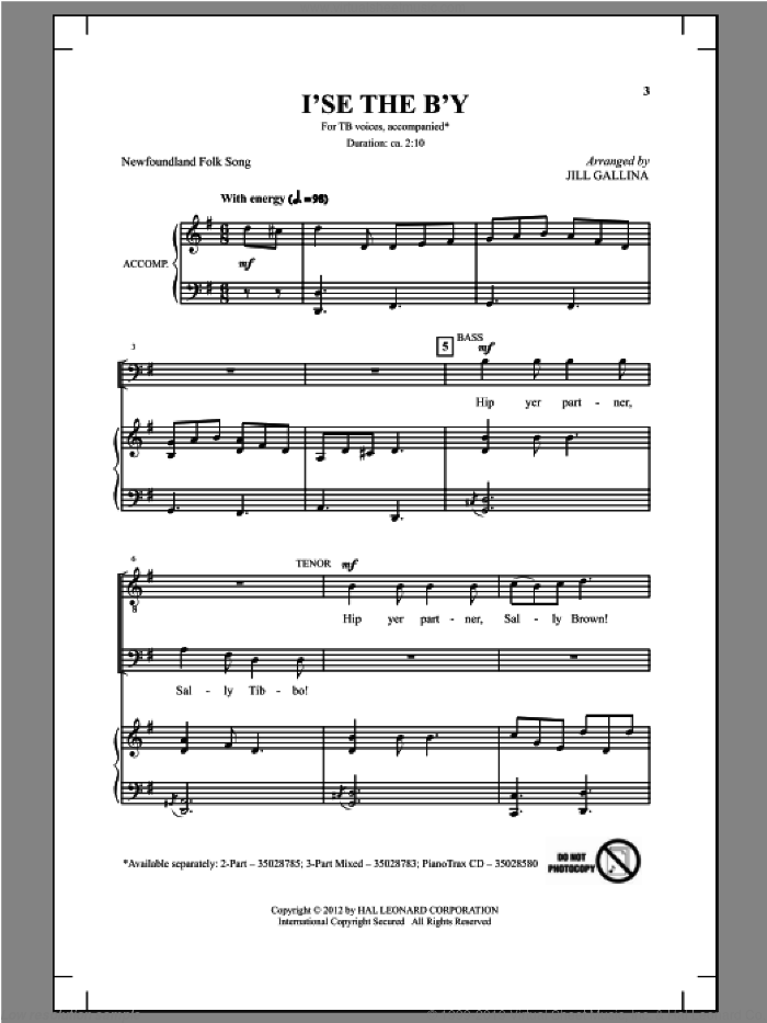 I'se The B'y sheet music for choir (TB: tenor, bass) by Jill Gallina, intermediate skill level