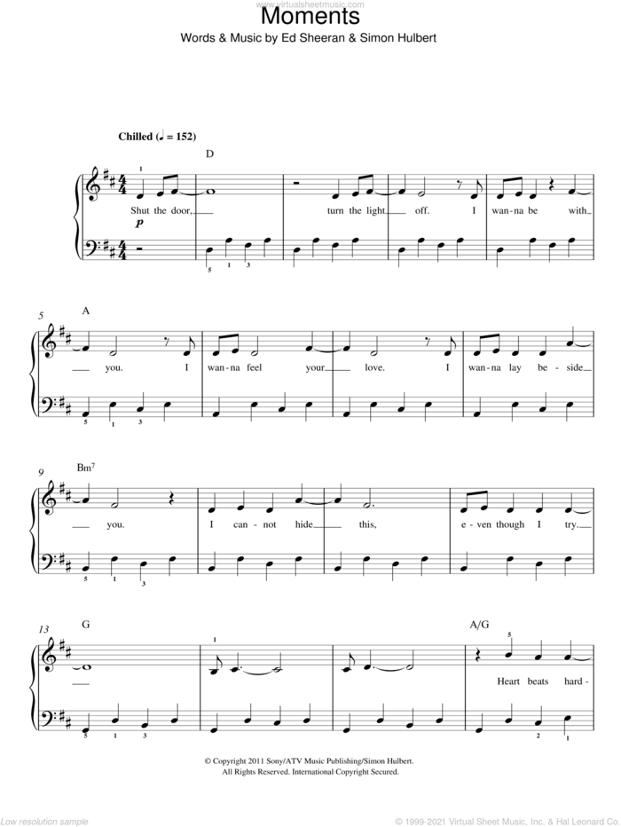 Moments sheet music for piano solo by One Direction, Ed Sheeran and Simon Hulbert, easy skill level