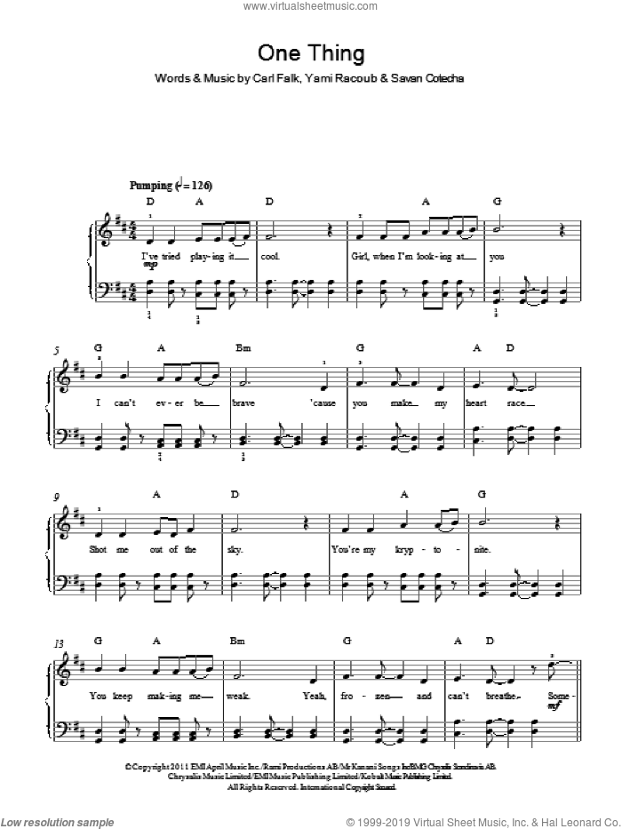 One Thing sheet music for piano solo by One Direction, Carl Falk, Savan Cotecha and Yami Racoub, easy skill level