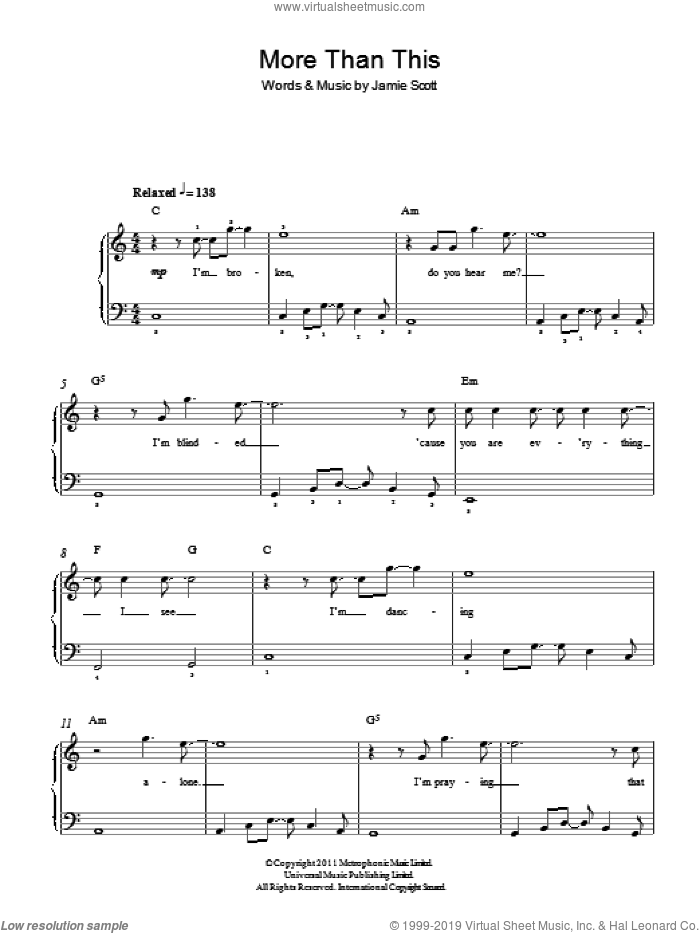More Than This sheet music for piano solo by One Direction and Jamie Scott, easy skill level