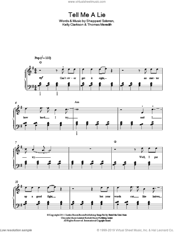 Tell Me A Lie sheet music for piano solo by One Direction, Kelly Clarkson, Sheppard Solomon and Thomas Meredith, easy skill level
