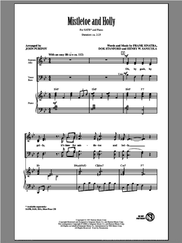 Mistletoe And Holly sheet music for choir (SATB: soprano, alto, tenor, bass) by Frank Sinatra and John Purifoy, intermediate skill level