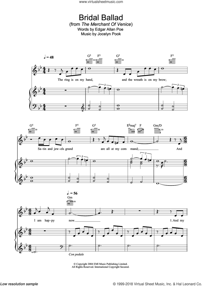 Bridal Ballad (from The Merchant Of Venice) sheet music for voice, piano or guitar by Hayley Westenra, Edgar Allan Poe and Jocelyn Pook, classical score, intermediate skill level
