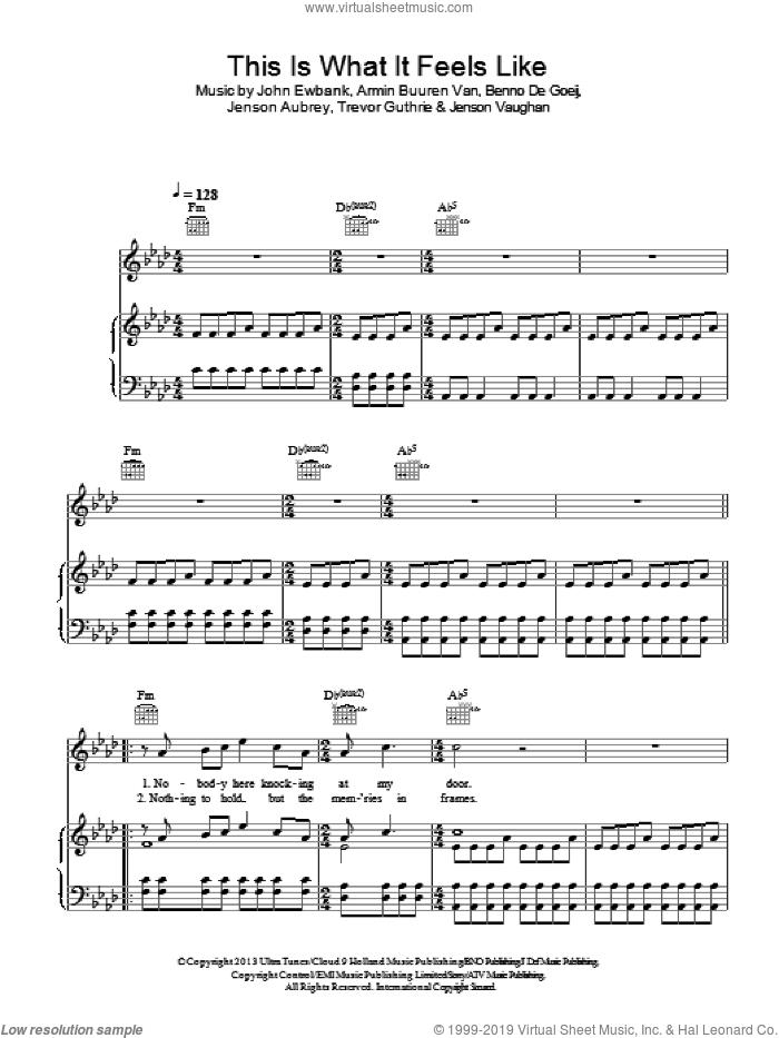 This Is What It Feels Like sheet music for voice, piano or guitar by Armin Van Buuren, Armin Buuren Van, Benno De Goeij, Jenson Aubrey, Jenson Vaughan, John Ewbank and Trevor Guthrie, intermediate skill level