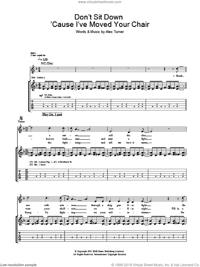 Don't Sit Down 'Cause I've Moved Your Chair sheet music for guitar (tablature) by Arctic Monkeys and Alex Turner, intermediate skill level