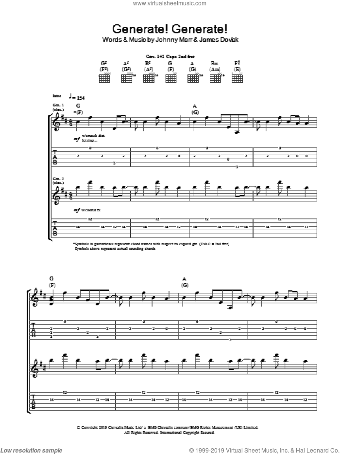 Generate! Generate! sheet music for guitar (tablature) by Johnny Marr and James Doviak, intermediate skill level